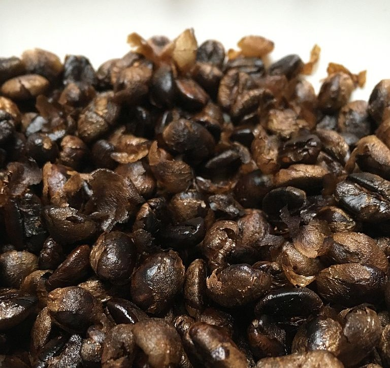 Roasted coffee beans with chaff